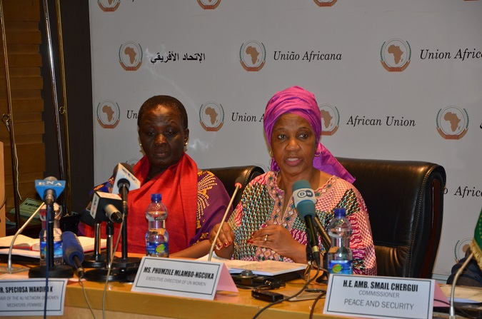 Phumzile Mlambo-Ngcuka, Executive Director of  UN Women and  Co-Chair of the AU Network of Women Mediators (FemWise) Dr. Speciosa Wandira Kazibwe during the mission. Photo: UN Women Ethiopia
