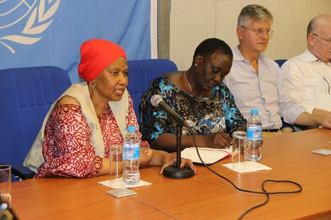 Executive Director Phumzile Mlambo-Ngcuka speaks on the importance of women's participation in the peace process in South Sudan. Photo: UN Women/ Patterson Siema