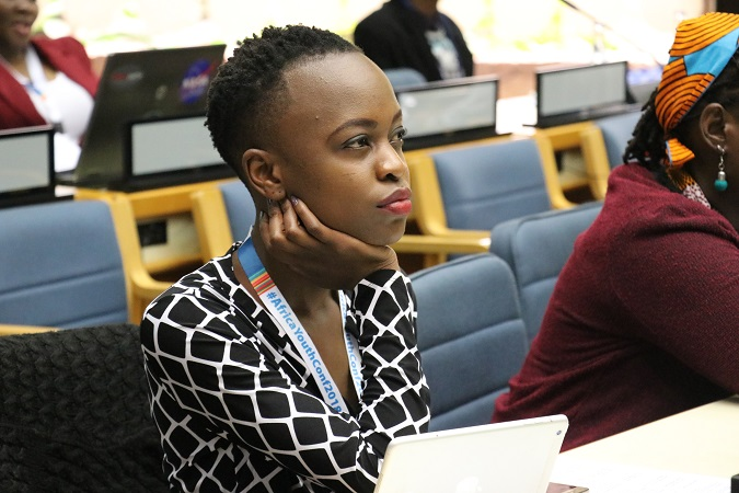 Nerima Wako, participant from Kenya follows the discussions. Photo: UN Women/ Faith Bwibo
