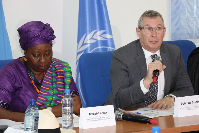 Jebbeh Forster, of UN Women  (left) and Resident Coordinator of Somalia, Peter de Clerq during the joint press conference. Photo: UN Women/ Faith Bwibo