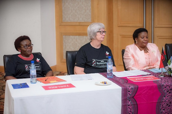 Hon. Cecila Chazama, Minister of Gender, Children, Disability and Social Welfare/ The Chargé d´Affaires, Embassy of Iceland, Ágústa Gísladóttir and UN Women Malawi Representative, Ms. Clara Anyangwe at the Barbershop Launch in Lilongwe
