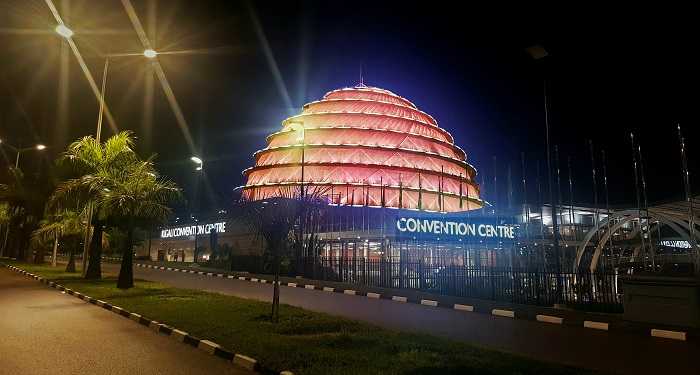 The iconic Kigali Convention Centre was lit in Orange during the 16 Days of Activism as a symbol to #SayNo! to Violence Against Women and Girls. Photo: UN Women/ Tumaini Ochieng