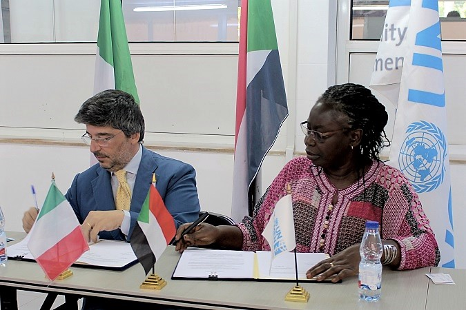H.E Mr. Fabrizio Lobasso Ambassador of Italy to Sudan and Adjaratou Fatou Ndiaye, UN Women Country Representative in Sudan signed the technical agreement of enhancing women's entrepreneurial capacity in Fisheries and Agribusiness project.