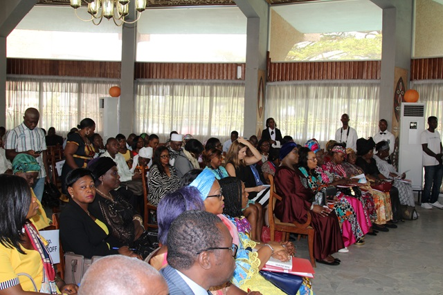 A cross section of stakeholders from government, elected positions, CSO's and media present during the ceremony to officially present the tools to promote women's political participation. Photo credit: Teclaire Same, UN Women.
