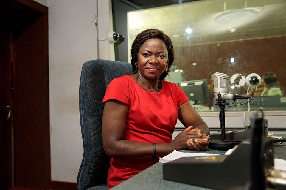 Tchonko Becky Bessong, a radio presenter with CRTV, Cameroon's public radio and television broadcasting company.