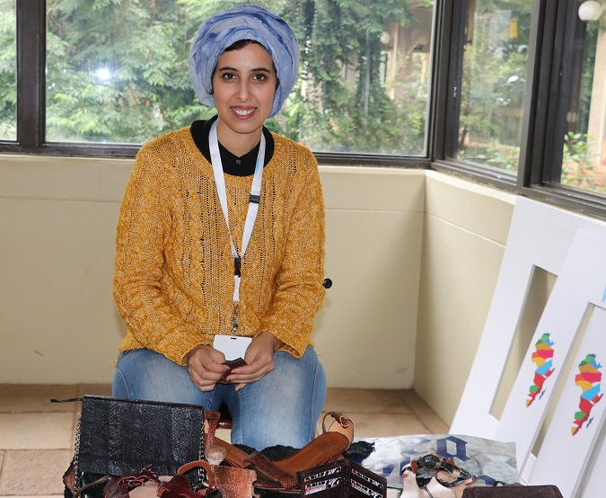 Nawal exhibits her products during the Africa Youth Conference in Nairobi. Photo: UN Women/ Faith Bwibo