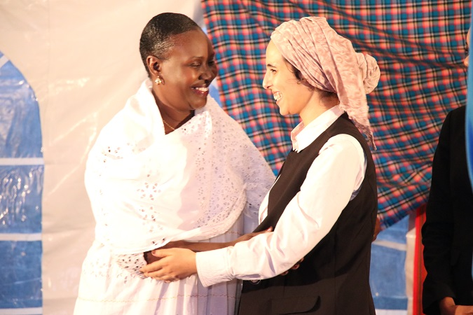 Nawal is congratulated for her innovation by UN Women Regional director for West and Central Africa, Diana Ofwona. Photo: UN Women/ Faith Bwibo