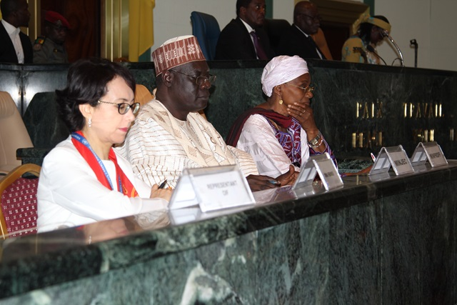 (from left to right) UN Women Deputy Rep, Hind Jalal; Minister of Youth Affairs and Civic Education, Mounouna Foutsou; and Minister of Women Empowerment and the Family, Marie-Therese Abena Ondoa Obama during the official closing ceremony of the intergenerational dialogue.