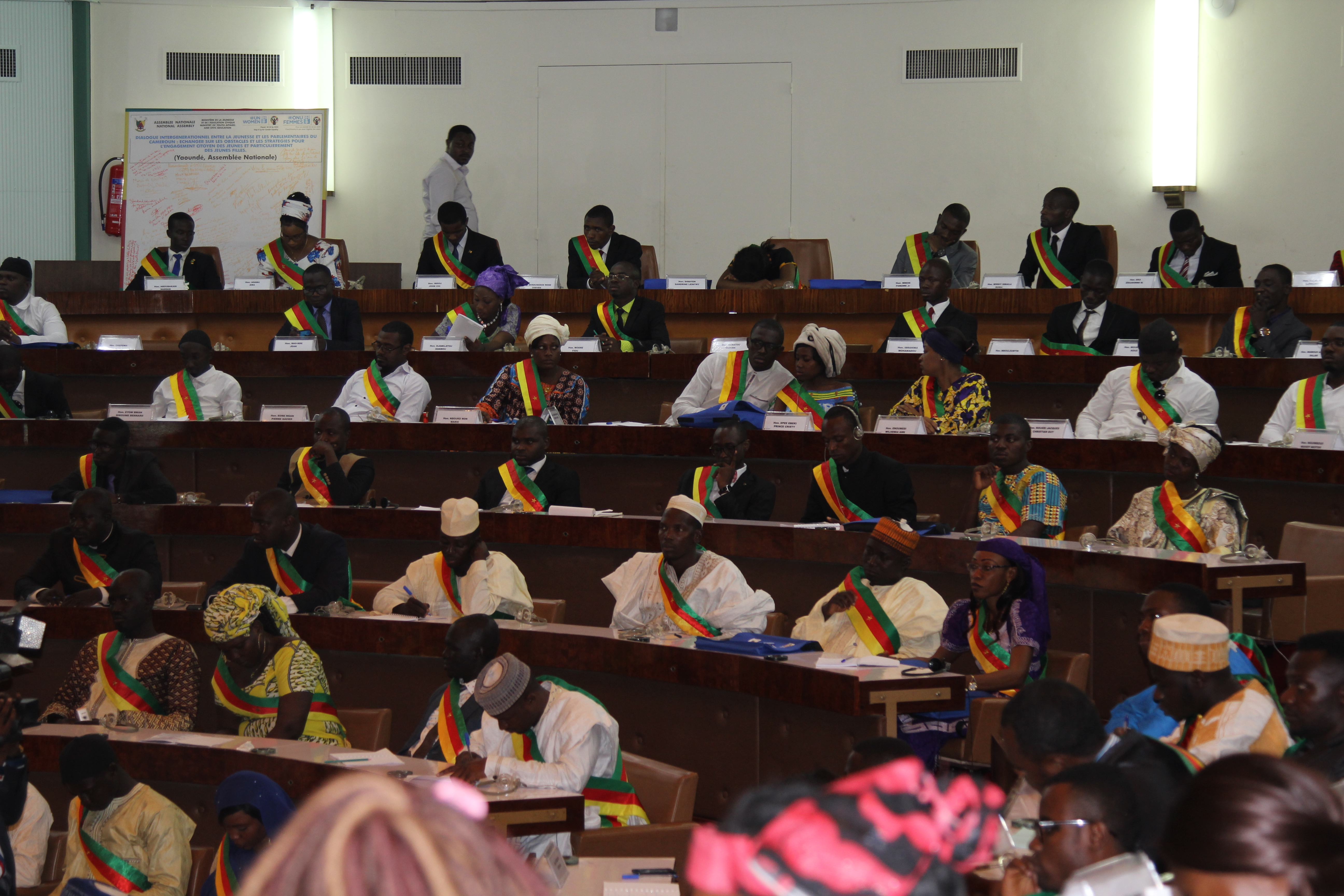 A cross section of the youth parliamentarians attending the intergenerational dialogue to promote peace, social cohesion and national unity