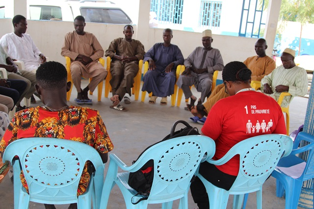 Needs assessment interviews with community leaders at the social cohesion space in Minawao refugee camp to hot beneficiaries/trainees of the SCE programme