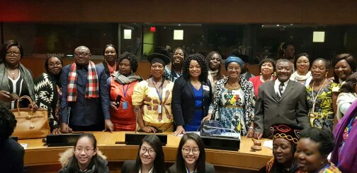 The Minister of Women's Empowerment and the Family, the Ambassador of Cameroon in New-York and some facilitators of the Side Event.