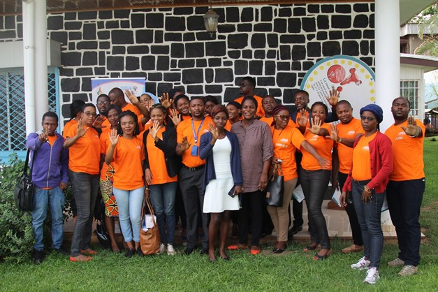 Family photo of GBV prevention and Menstrual Hygiene Management training participants.