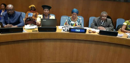 (from left to right) Joseph Ngoro, Un Women Program Specialist; Justine Tamungang, Director at Ministry of Agriculture; Marie Therese Abena, Minister of Women Empowerment and the Family chair of the side event; and Michel Tommo Monthe, Cameroon Ambassador to the UN.