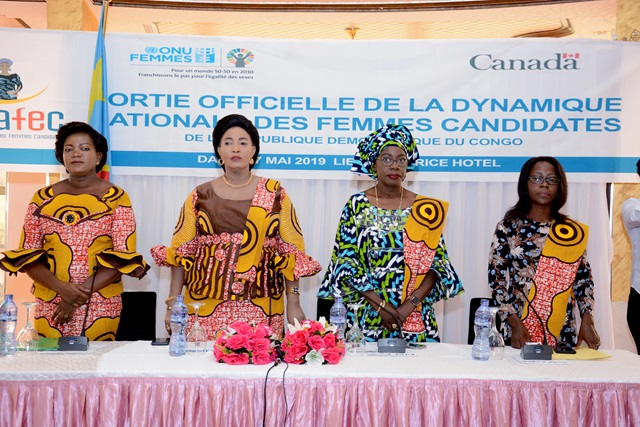 Kinshasa, May 17, 2019 – From left to right Carine, the Coordinator of DYNAFEC, Her Excellency Chantal Safou, Minister of Gender, Child and Family, Mme. Awa Ndiaye Seck, UN Women Representative in the DRC, Ms. Anna Mayimona, Civil Society.