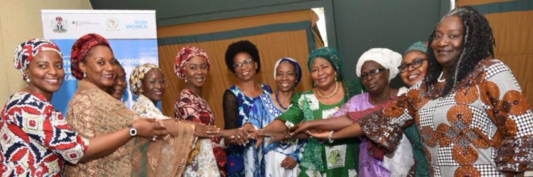 AWLN Steering Committee members with the UN Women Country Representative. From left, Inimfon Etuk, Prof. Funmi Para-Mallam, Sen. Biodun Olujimi, Fatima Askira, H.E Mrs. Toyin Saraki, Amb. Toyo Nkoyo, Comfort Lamptey (Country Rep. UN Women), Chief Mrs. Gloria Shoda, Mrs. Janet, Pst. Esther Ibanga./ UN WOMEN NIGERIA,