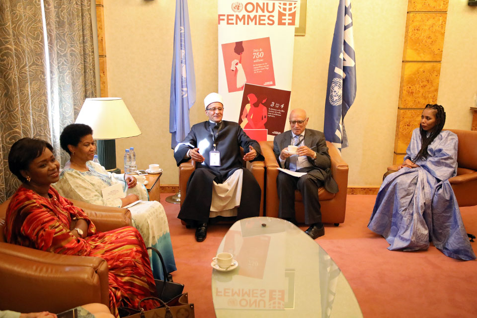 UN Women Executive Director Phumzile Mlambo-Ngcuka (second from left), Regional Goodwill Ambassador Jaha Dukureh (right) and Oulimata Sarr Regional Director a.i for UN Women West and Central Africa, meets with The Deputy Grand Imam of Al Azhar. Photo: UN Women/Dieynaba Niabaly