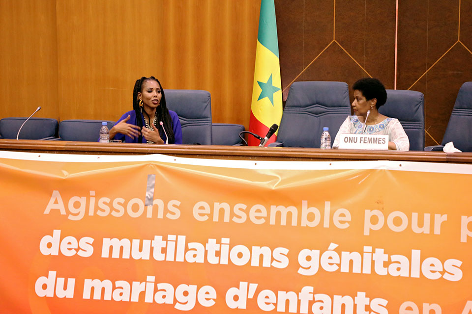 UN Women Executive Director Phumzile Mlambo-Ngcuka and Regional Goodwill Ambassador Jaha Dukureh participate in a interactive dialogue on 16 June 2019 during the first African Summit on FGM and Child Marriage in Dakar, Senegal. Photo: UN Women/Dieynaba Niabaly
