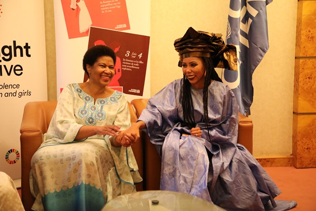 From left to right, UN Women Executive Director, Phumzile Mlambo-Ngcuka , with Jaha Dukureh during the 1st African Summit on Female Genital Mutilation (FGM) and Child Marriage (CM), taking place in Dakar, Senegal.