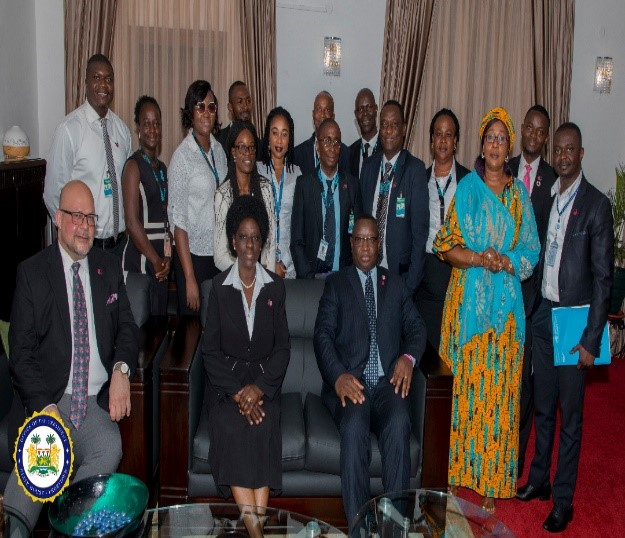 UN Women Country Representative and team, RC posed with H.E Maada Bio- State House Sierra Leone