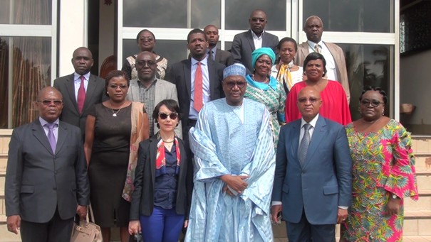 Mrs. Hind JALAL,  Deputy Representative of UN Women Cameroon, along with Mr. Moussa AOUDOU, S.G. of MINPROFF & Mr. Joseph TEDOU, Director of NSI (centre)  and the members of the Interministerial Committee on Gender Statistics in Cameroon for the family picture. Photo Credit: MINPROFF.
