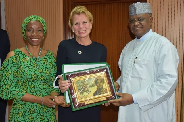 UN Women Deputy Executive Director Åsa Regnér with UN Women Country Rep Comfort Lamptey pays courtesy call to Nigeria's Minister of State for Foreign Affairs, H.E. Amb Zubairu Dada.