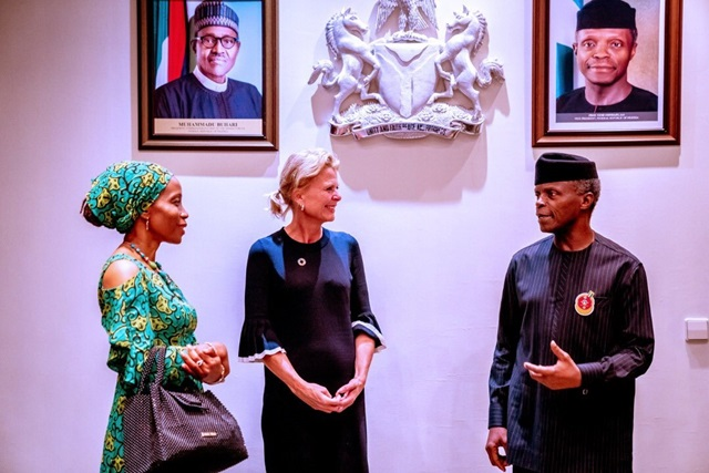 UN Women Deputy Executive Director Åsa Regnér and UN Women Country Rep Comfort Lamptey having a discussion with Nigeria's Vice President Prof. Yemi Osinbajo during a courtesy visit to Aso Villa in Abuja.