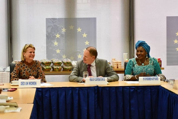 UN Women Deputy Executive Director Åsa Regnér, the Head of Cooperation at the European Union to Nigeria and ECOWAS, Kurt Cornelis and Nigeria's Minister of Women Affairs, Pauline K. Tallen during interactive session.