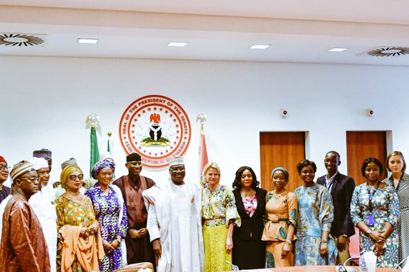 UN Women Deputy Executive Director Åsa Regnér, UN Women Nigeria Country Rep, Comfort Lamptey and UN Women Regional Director for West & Central Africa, Oulimata Sarr with Dr. Ahmed Lawan, The President of the Nigerian Senate and his delegation .