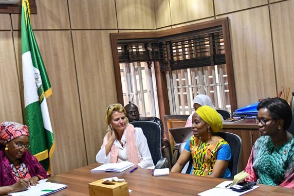 UN Women Deputy Executive Director Åsa Regnér with Minister of Humanitarian Affairs, Sadiya Farouq, UN Women Nigeria Country Rep, Comfort Lamptey and UN Women Regional Director for West & Central Africa, Oulimata Sarr.