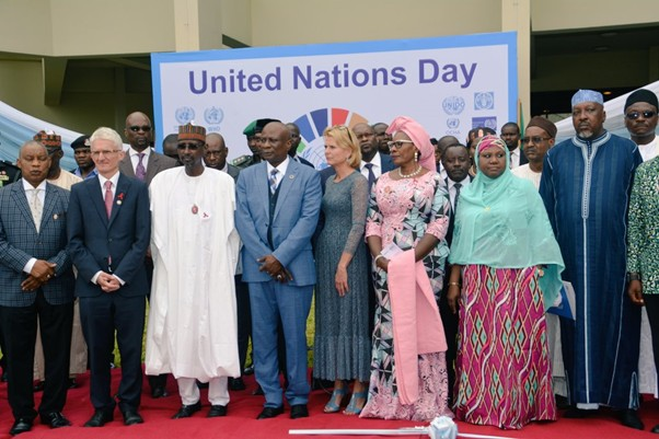 UN Women Deputy Executive Director Åsa Regnér with THE UN Resident Coordinator, Edward Kallon, Nigeria's Minister of Women Affairs, Pauline Tallen and other dignitaries during the UN Day celebrations.