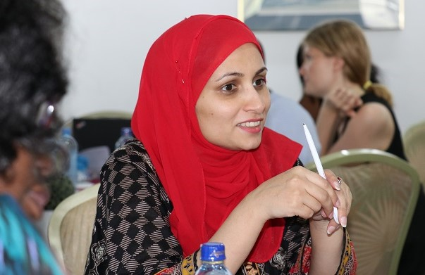 Sidra Anwar, Protection Officer from UNFPA Rwanda participates during the workshop. Photo: UN Women/ Faith Bwibo
