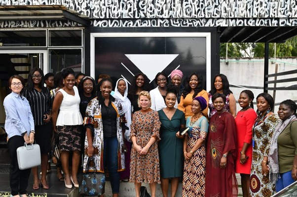 UN Women Deputy Executive Director Åsa Regnér and delegation with young female experts from the technology sector.
