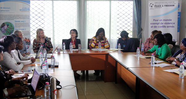 UN Women Cameroon Deputy Representative and WILPF Cameroon President with international experts and representatives of the UN system