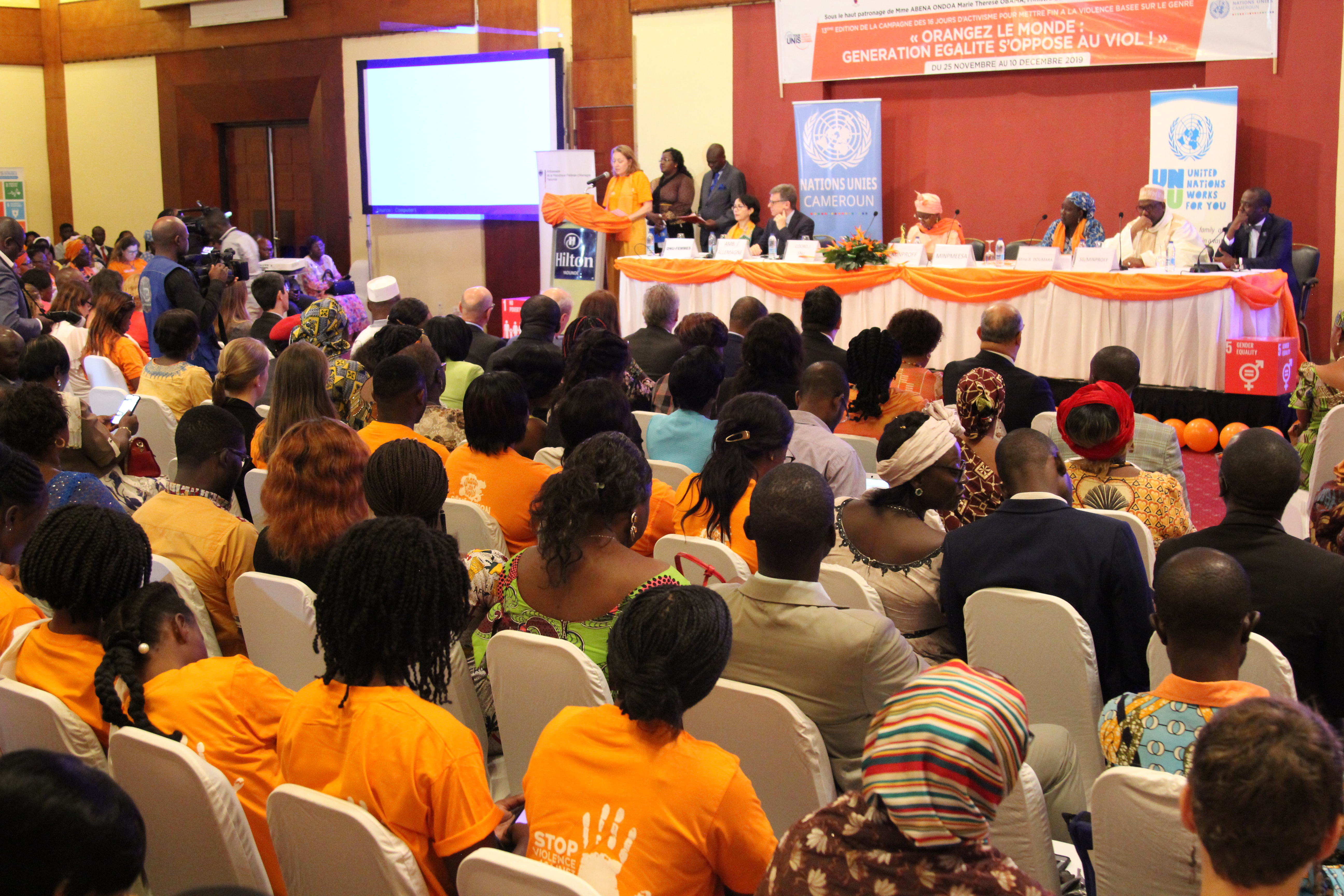 Mme Allegra Baiocchi, UN Cameroon Resident Coordinator, delivering the speech of the UN SG to participants attending the 16 days campaign launch event in Cameroon. Photo credit, Teclaire Same/UN Women