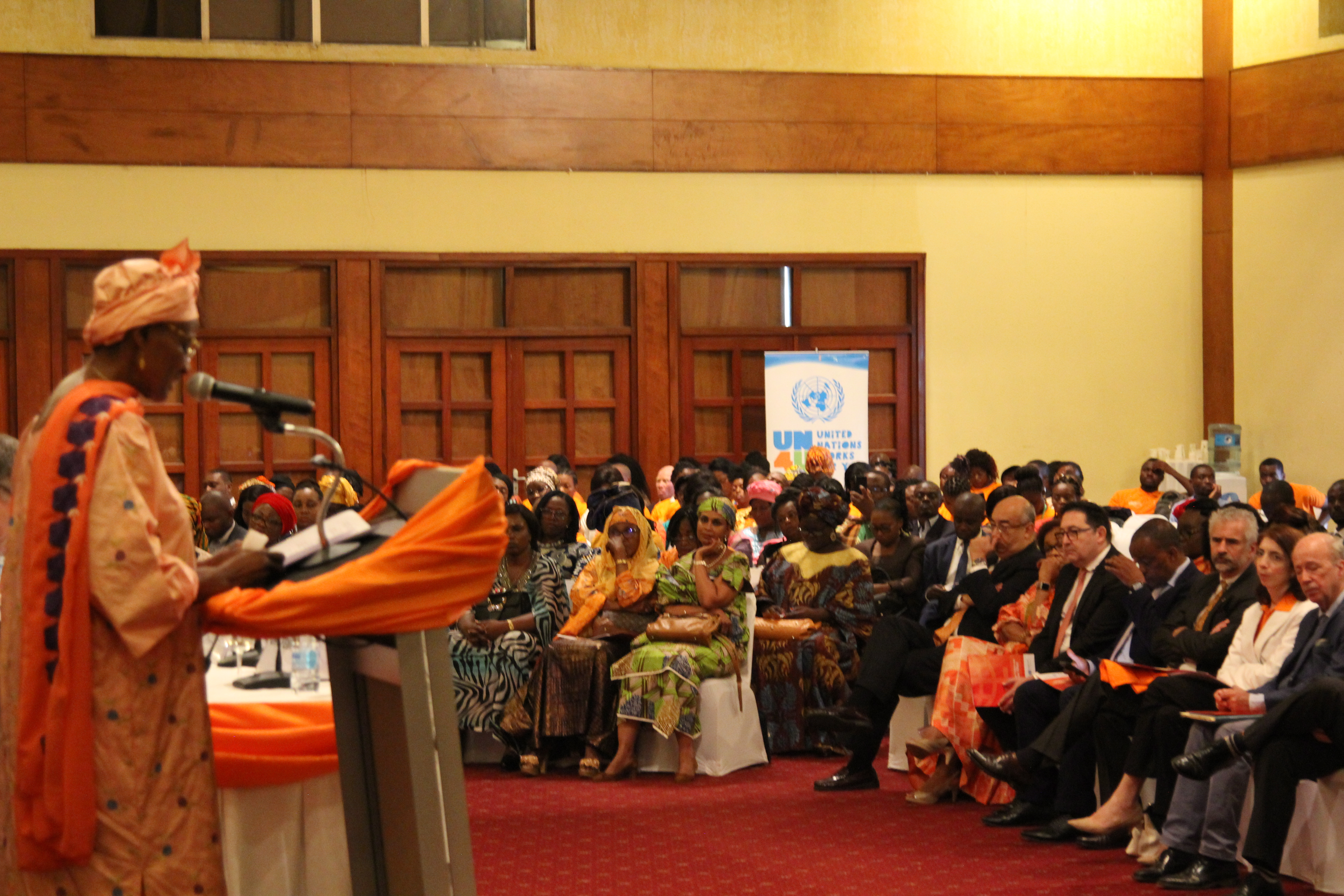 Minister Abena Ondoa Marie-Therese, Minister of Women Empowerment and the Family officially launcing the 16 days campaign in Cameroon. Photo credit, Teclaire Same/UN Women