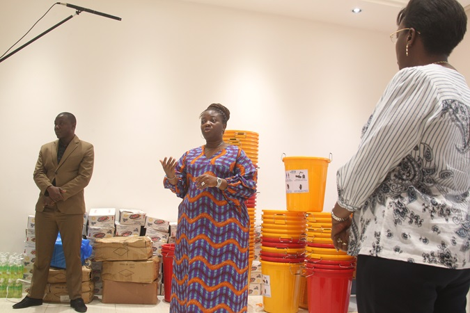 Minister of Gender, Children and Social Protection, Honorable Williameta Piso Saydee-Tar gives an appreciation speech during the handover ceremony. Photo: UN Women Liberia.