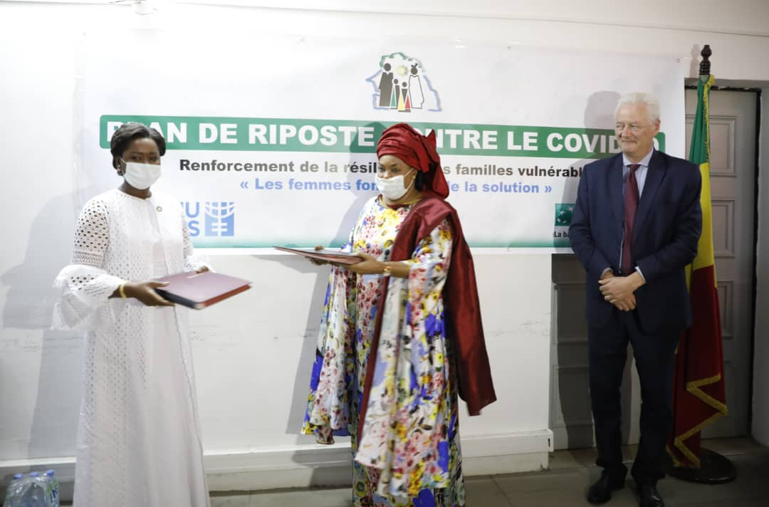 UN Women Regional Director Oulimata Sarr, Ms. Ndeye Saly Diop Dieng Minister for Women, Family, Gender and Child Protection and Mr. Bernard Levie, Director General of BICIS. Photo: UN Women/Khadidiatou Ndiaye