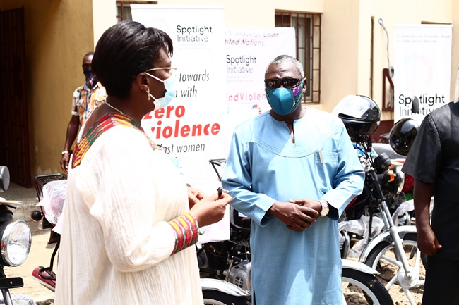 UN Women Liberia Country Representative, Marie Goreth Nizigama hands over keys to the Minister of Internal Affairs following a donation of ten motor bikes by UN Women to the Ministry of Internal Affairs and the National Council of Chiefs and Elders of Liberia. Photo: UN Women Liberia