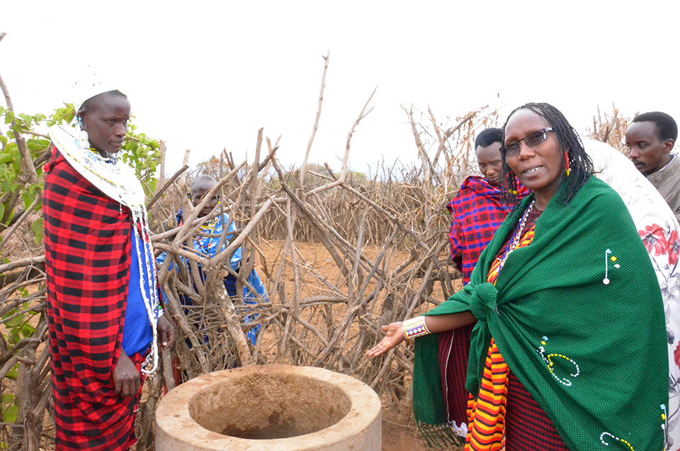 PWC Executive Director, Ms Maanda Ngoitiko during a tour in 2019, to assess how the trained women and girls were promoting use of biogas in Ngorongoro