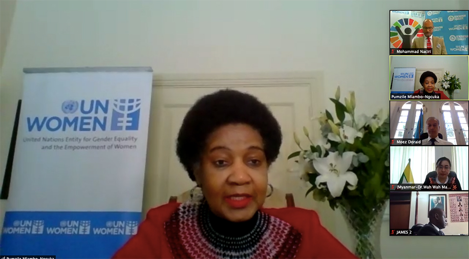 UN Women Executive Director Phumzile Mlambo-Ngcuka calls on governments to ensure gender-responsive national plans to build back better after COVID-19