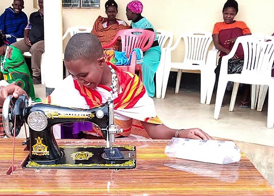 21-year-old Saiton Musa is now expanding her tailoring business after receiving a sewing machine through UN Women's COVID-19 recovery support-Photo: UN Women