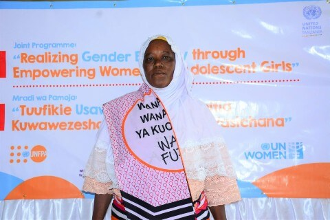 At the launch of the programme in September 2020, Mariamu Rasidi Tungu was one of the women farmers who came to celebrate support from UN Women. Photo: UN Women.