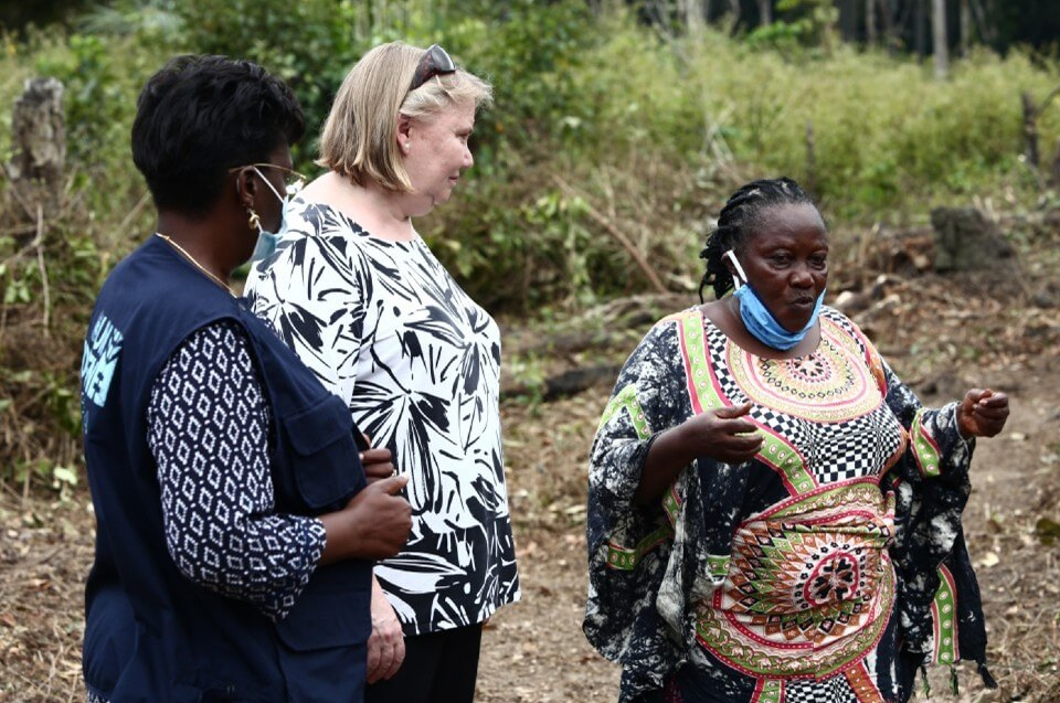 Kebber Monger (right) shares her vision with UN Women Liberia Country Representative, Marie Goreth Nizigama and Her Excellency, the Ambassador of Sweden, Ingrid Wetterqvist.