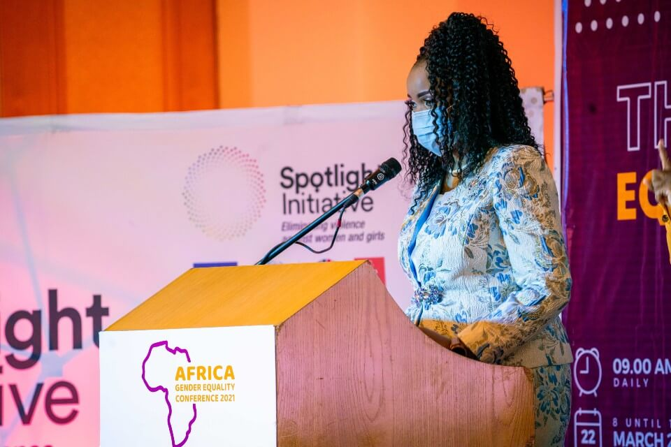 Mary Chilima, spouse of Malawi's Vice President, speaks at a side event on the Spotlight Initiative during the first-ever Annual Africa Gender Equality Conference which marked International Women's Day in Lilongwe, Malawi. Photo: #AGEC2021 Media