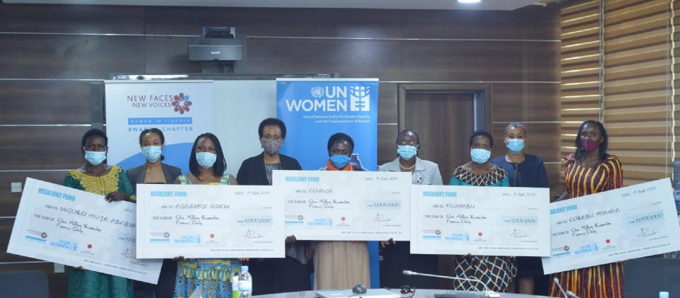 Grants handover to the first beneficiaries. Photo: Courtesy of New Faces New Voices.