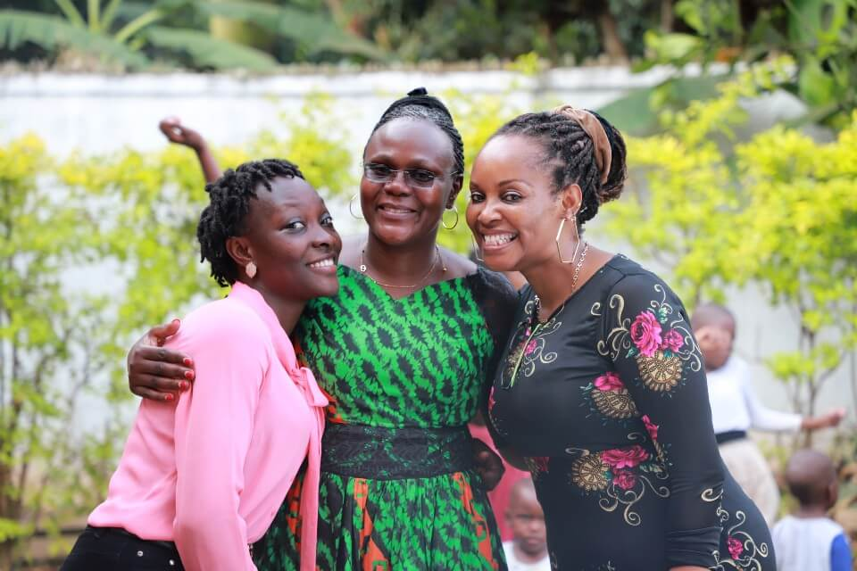 Rachel Wanyana (UGANET Shelter Staff), Rhona Babweteera (Head of Department, UGANET) and Lucy Chihi (UGANET Resident Counsellor) provides counselling support to survivors. Photo: UN Women/Eva Sibanda.