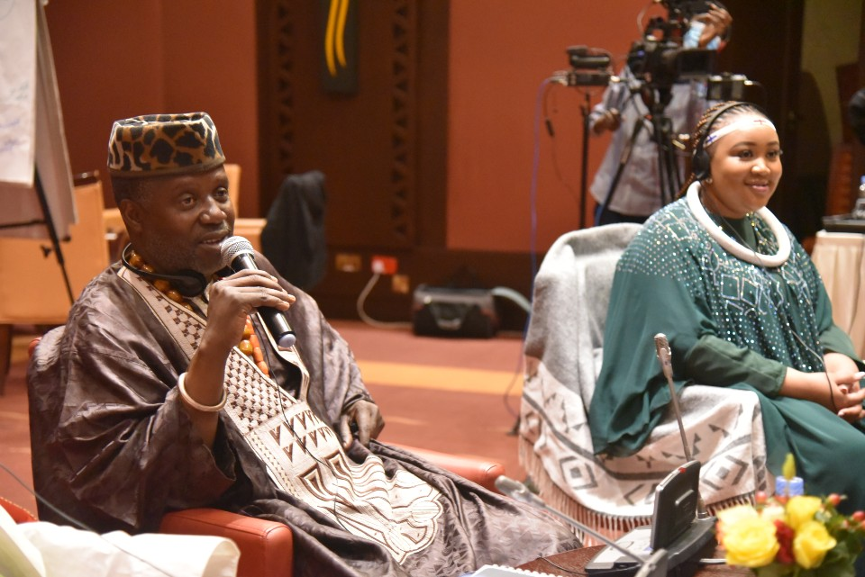 A wealth of wisdom was shared by traditional leaders during the meeting. King Mfumu Difima Ntinu, Kongo Kingdom of DRC, Deputy General Convenor of COTLA and Queen Martha Sekhotali Mabena, South Africa.  Photo: UN Women_Aijamal Duishebaeva