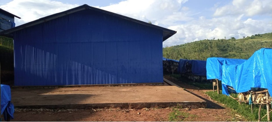 This drying shed was built by RDO with funding from UN Women for Tuzamurane Cyeza Cooperativ., This was part of the post-harvest equipment given to the cooperative to improve quality. Photo: UN Women Rwanda