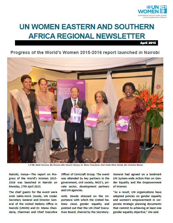UN Women Eastern and Southern Africa Regional newsletter of April
