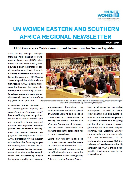 UN Women Eastern and Southern Africa Regional newsletter of July